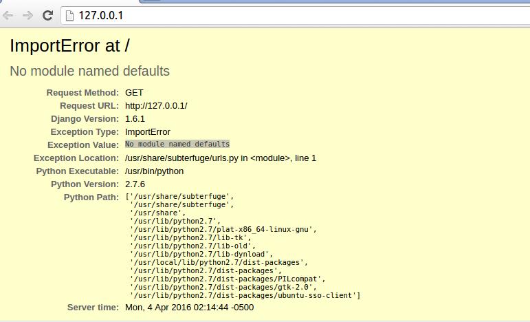 Subterfuge - No module named defaults - Helewix Designing