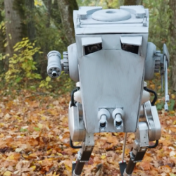 Yub nub! Students dress a bipedal robot up like an AT-ST