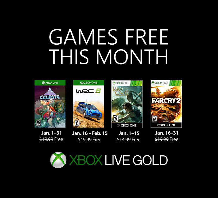 New Games with Gold for January 2019