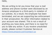 Amazon fires employees for leaking customer email addresses and phone numbers