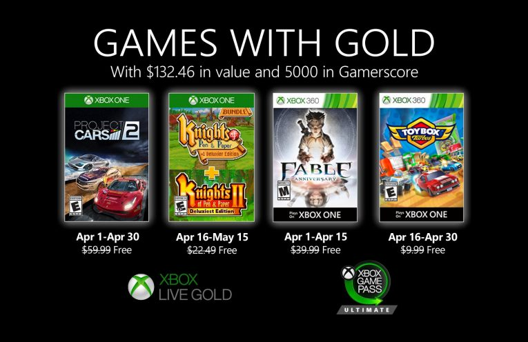 New Games with Gold for April 2020