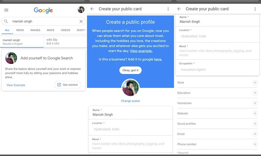 Google rolls out virtual visiting card in India