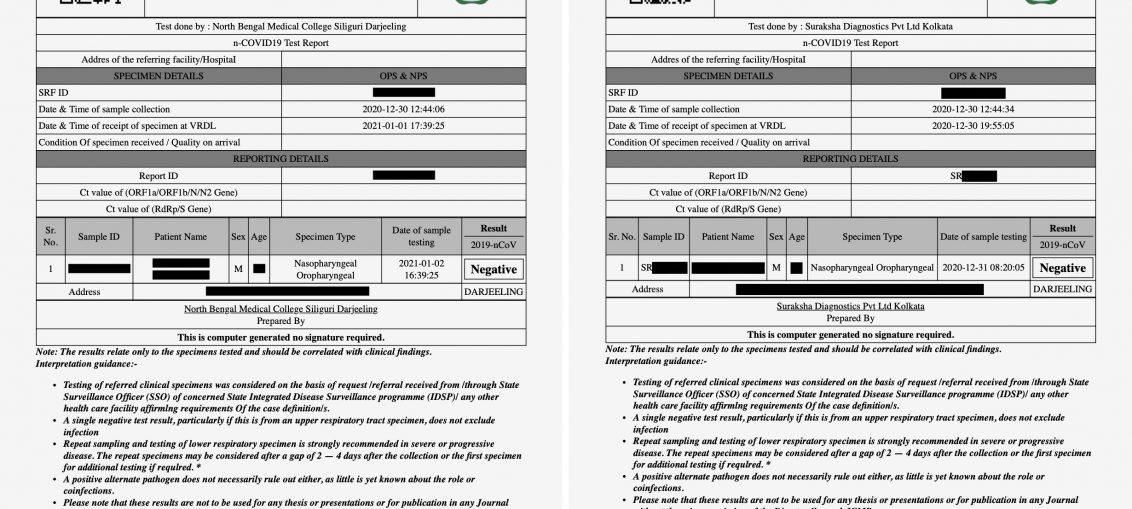 Two COVID-19 lab test results, but with details redacted, to show what kind of data has been exposed.