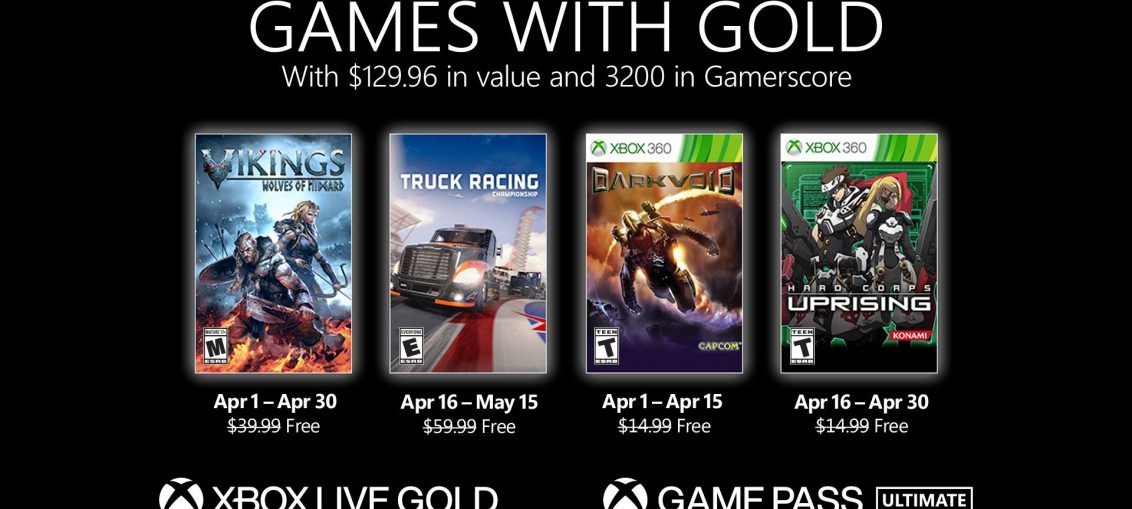 New Games with Gold for April 2021
