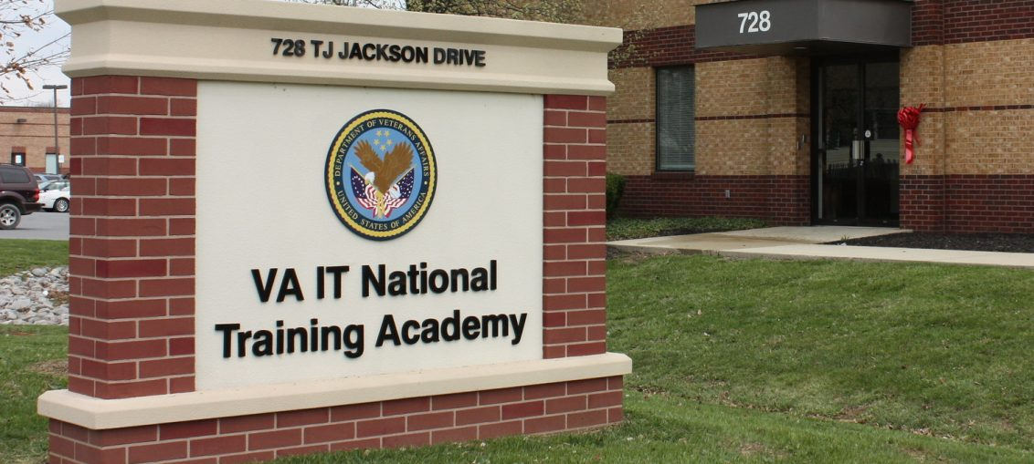 The brick sign outside of the VA IT National Training Center is seen.