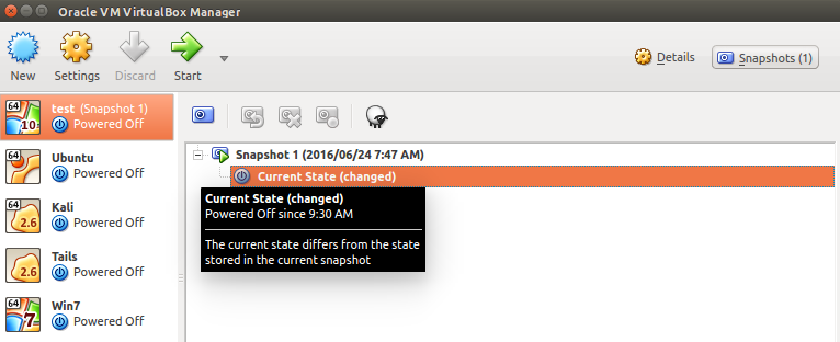 Delete a snapshot in Oracle VM VirtualBox Manager