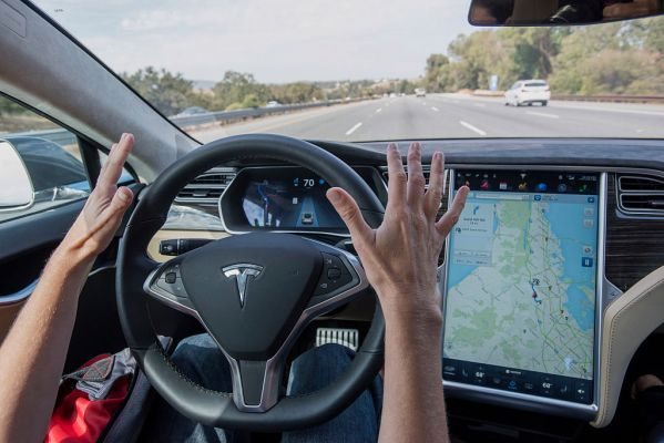 Tesla shows off next-gen automated emergency breaking stopping for pedestrians and cyclists