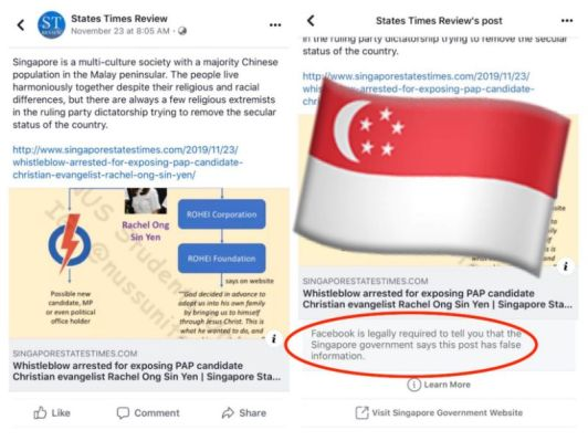 Facebook bowed to a Singapore government order to brand a news post as false