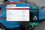 Image of an options screen for a Forza racing game where many aspects of the game have their own difficulty setting.
