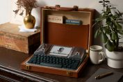 The latest distraction-free Freewrite features an Ernest Hemingway monogrammed attaché case