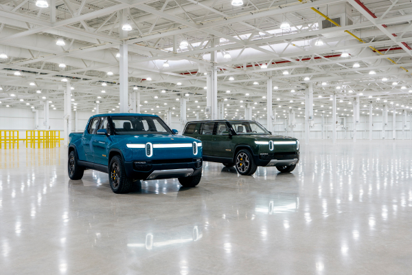 Rivian's first-production R1T electric pickup truck rolls off the line